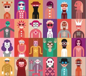 Panels of Cartoon People